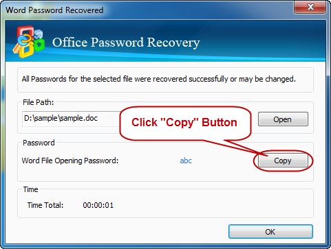 Success recover office password