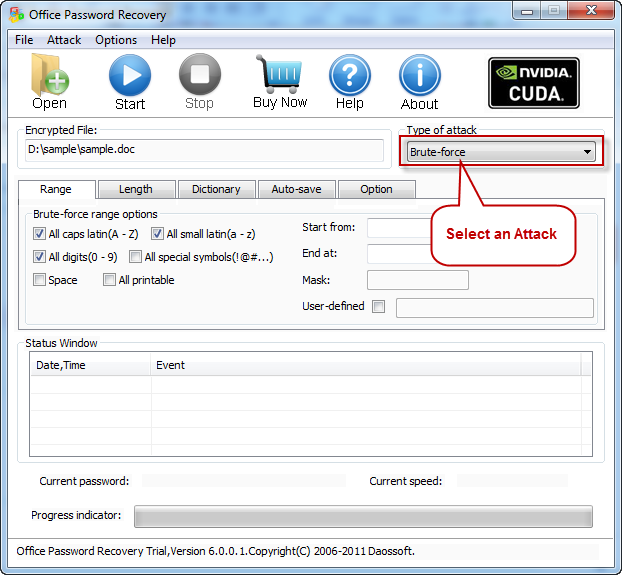 Select an Attack recover office password