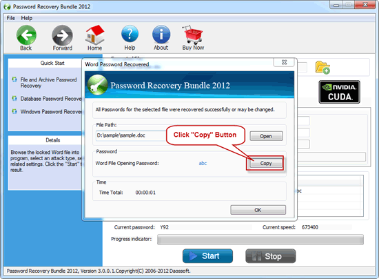 Success recover access Password